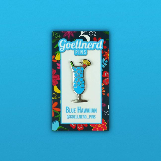 Blue Hawaiian Cocktail Pin on backing card